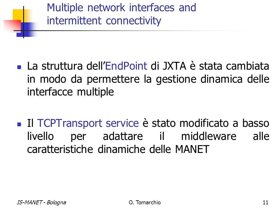 IS-MANET - BolognaO. Tomarchio11 Multiple network interfaces and intermittent connectivity La struttura dellEndPoint di JXTA è stata cambiata in modo