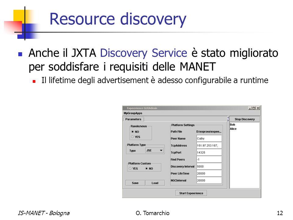 IS-MANET - BolognaO. Tomarchio12 Resource discovery Anche il JXTA Discovery Service è stato migliorato per soddisfare i requisiti delle MANET Il lifet