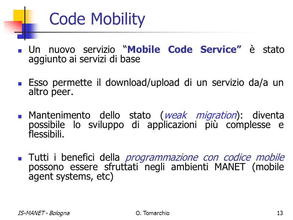 IS-MANET - BolognaO. Tomarchio13 Code Mobility Un nuovo servizio Mobile Code Service è stato aggiunto ai servizi di base Esso permette il download/upl