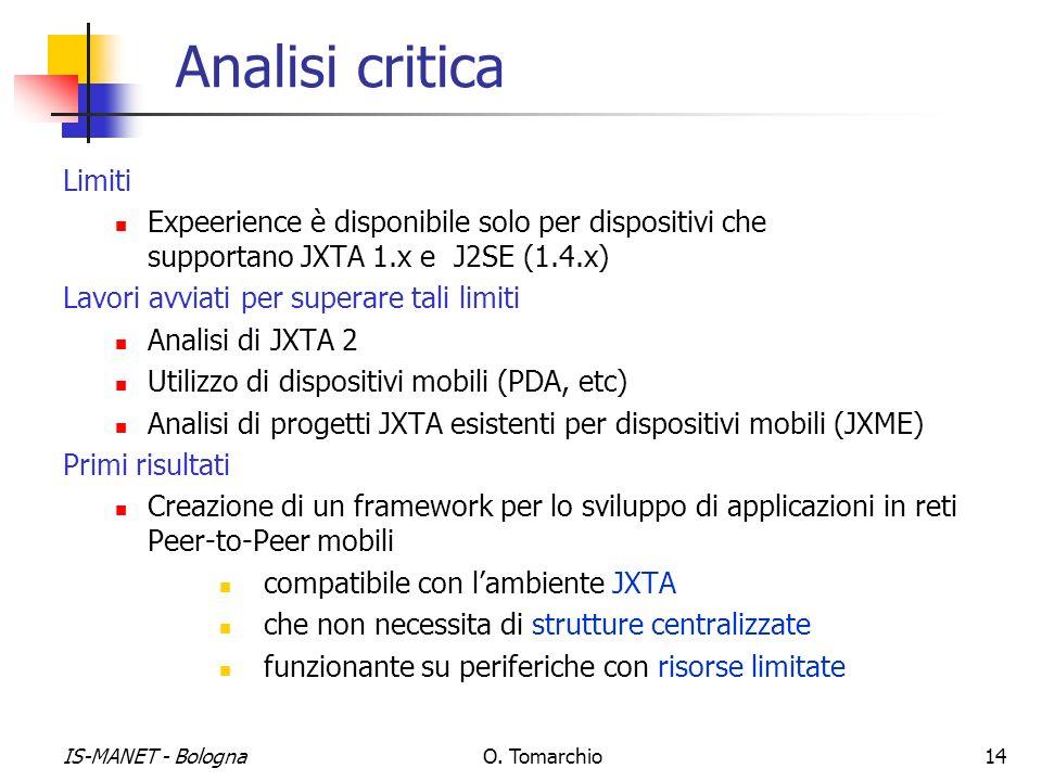 IS-MANET - BolognaO. Tomarchio14 Analisi critica Limiti Expeerience è disponibile solo per dispositivi che supportano JXTA 1.x e J2SE (1.4.x) Lavori a