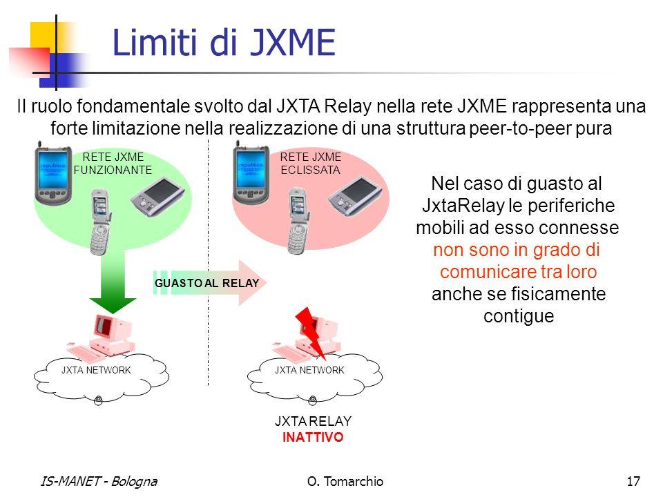 IS-MANET - BolognaO. Tomarchio17 Limiti di JXME Il ruolo fondamentale svolto dal JXTA Relay nella rete JXME rappresenta una forte limitazione nella re