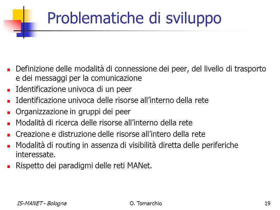 IS-MANET - BolognaO. Tomarchio19 Problematiche di sviluppo Definizione delle modalità di connessione dei peer, del livello di trasporto e dei messaggi