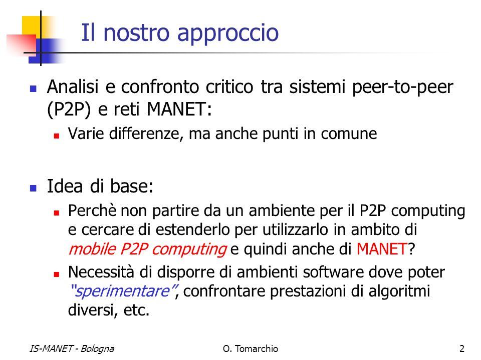 IS-MANET - BolognaO. Tomarchio2 Il nostro approccio Analisi e confronto critico tra sistemi peer-to-peer (P2P) e reti MANET: Varie differenze, ma anch