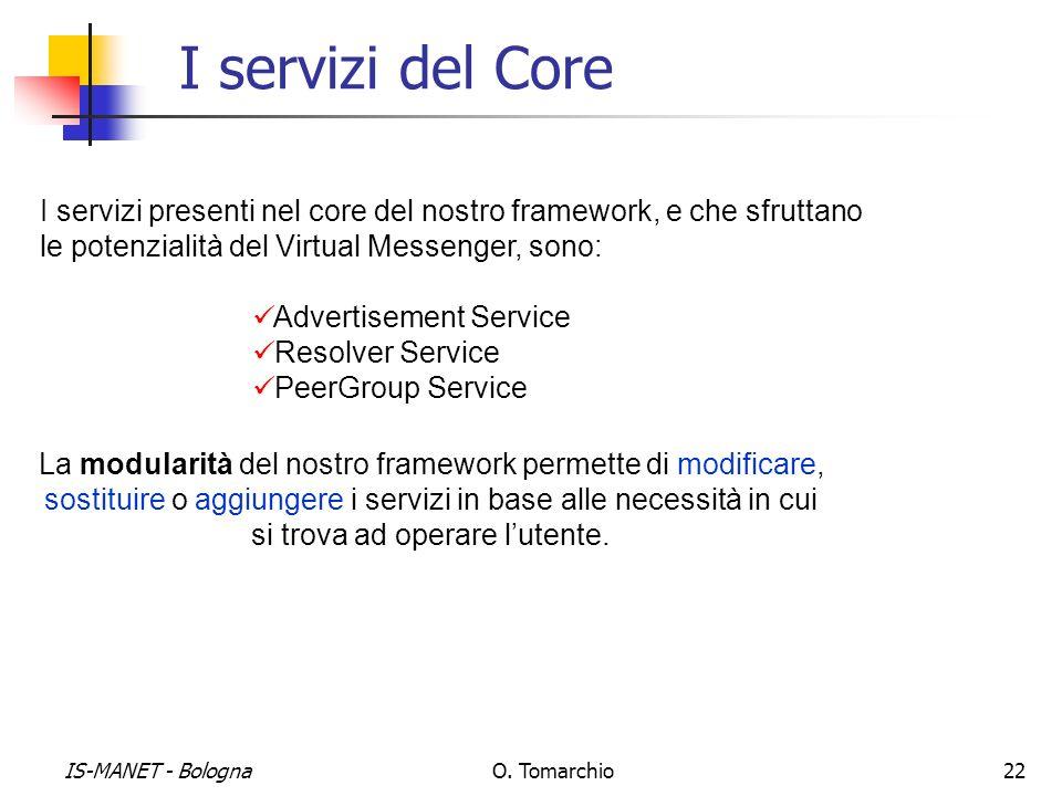IS-MANET - BolognaO. Tomarchio22 I servizi del Core I servizi presenti nel core del nostro framework, e che sfruttano le potenzialità del Virtual Mess