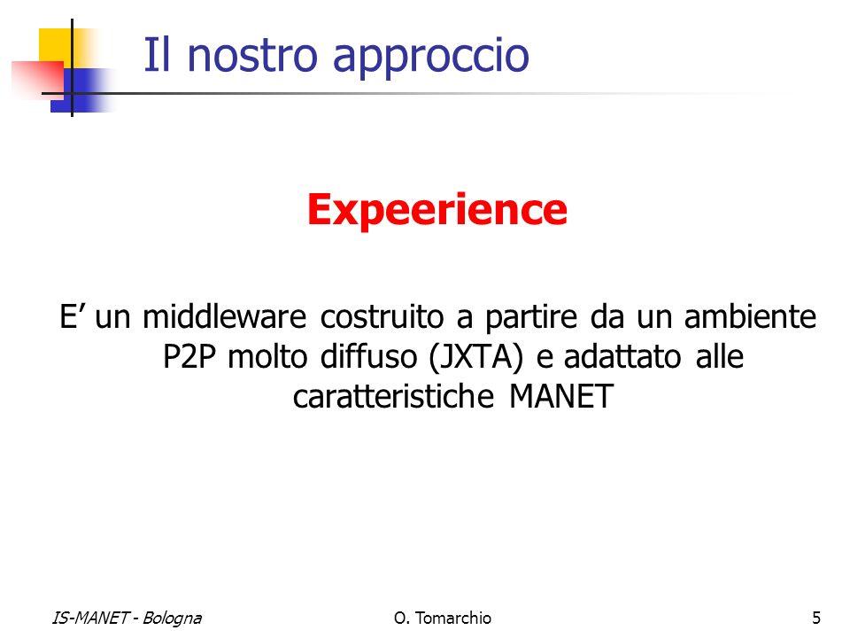 IS-MANET - BolognaO. Tomarchio5 Il nostro approccio Expeerience E un middleware costruito a partire da un ambiente P2P molto diffuso (JXTA) e adattato