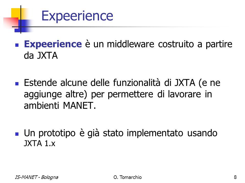 IS-MANET - BolognaO. Tomarchio8 Expeerience Expeerience è un middleware costruito a partire da JXTA Estende alcune delle funzionalità di JXTA (e ne ag