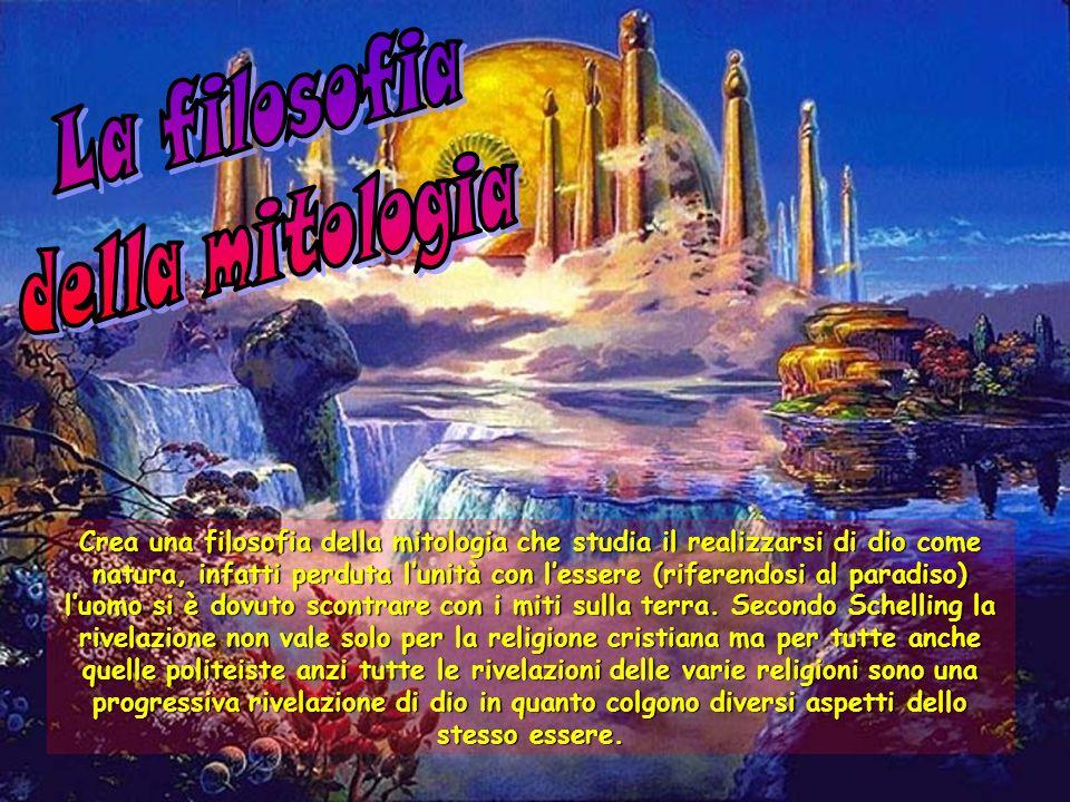 Crea una filosofia della mitologia che studia il realizzarsi di dio come natura, infatti perduta lunità con lessere (riferendosi al paradiso) luomo si è dovuto scontrare con i miti sulla terra.