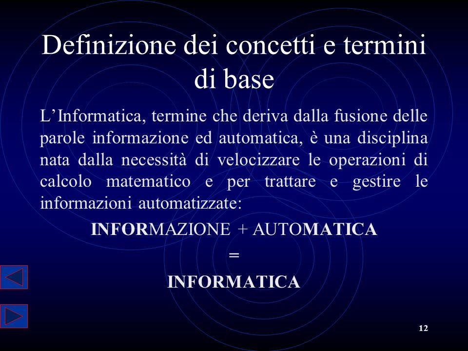 12 Definizione dei concetti e termini di base LInformatica, termine che deriva dalla fusione delle parole informazione ed automatica, è una disciplina