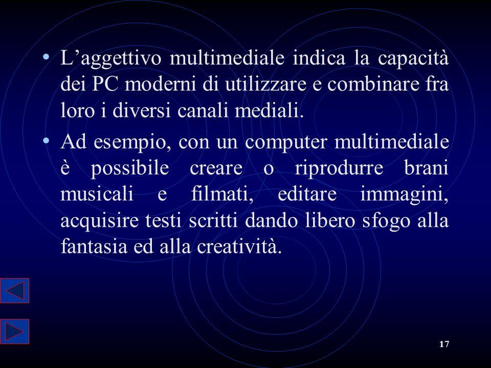 17 Laggettivo multimediale indica la capacità dei PC moderni di utilizzare e combinare fra loro i diversi canali mediali. Ad esempio, con un computer