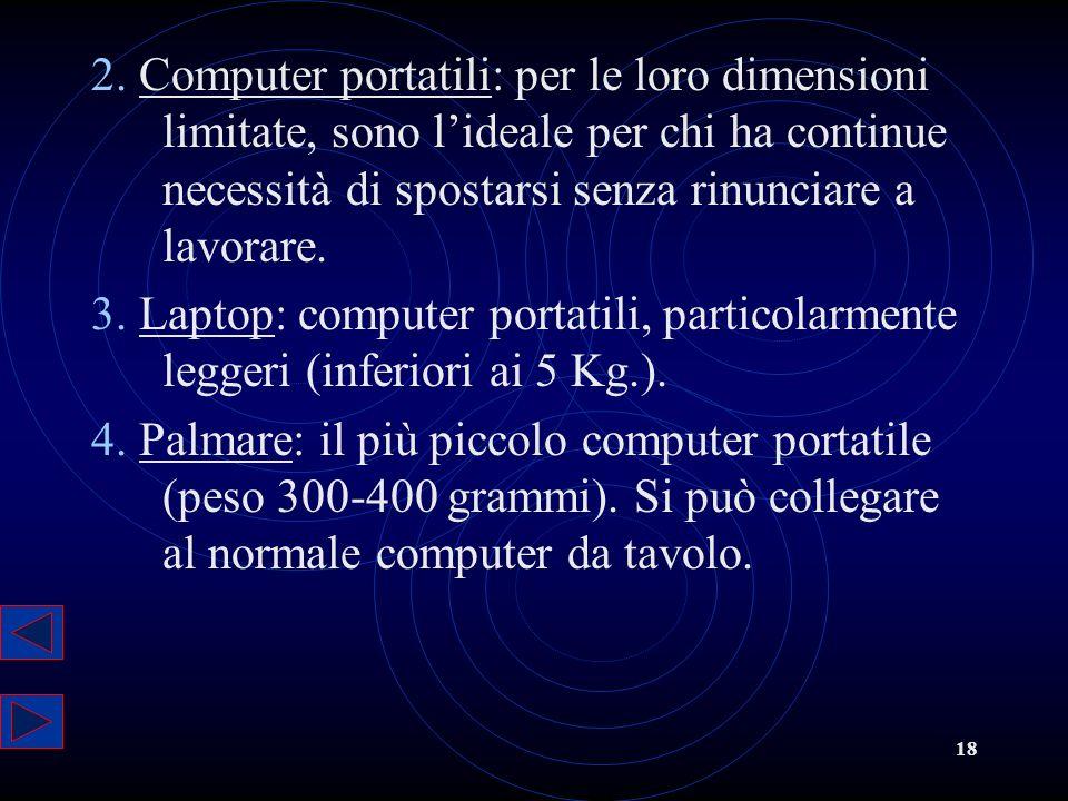 18 2. Computer portatili: per le loro dimensioni limitate, sono lideale per chi ha continue necessità di spostarsi senza rinunciare a lavorare. 3. Lap