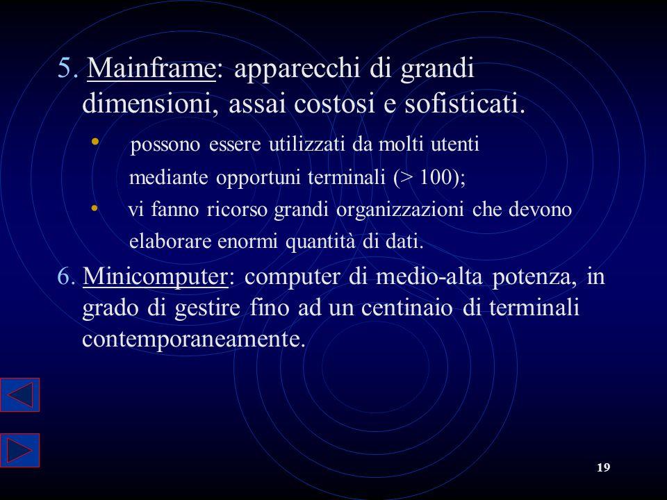 19 5. Mainframe: apparecchi di grandi dimensioni, assai costosi e sofisticati. possono essere utilizzati da molti utenti mediante opportuni terminali