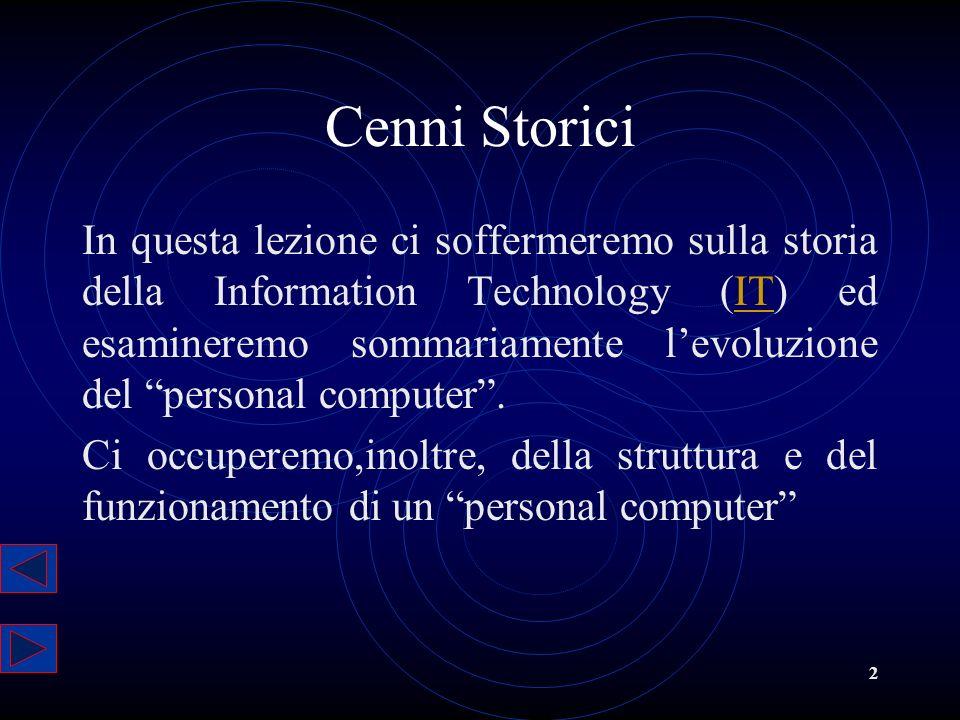 2 Cenni Storici In questa lezione ci soffermeremo sulla storia della Information Technology (IT) ed esamineremo sommariamente levoluzione del personal