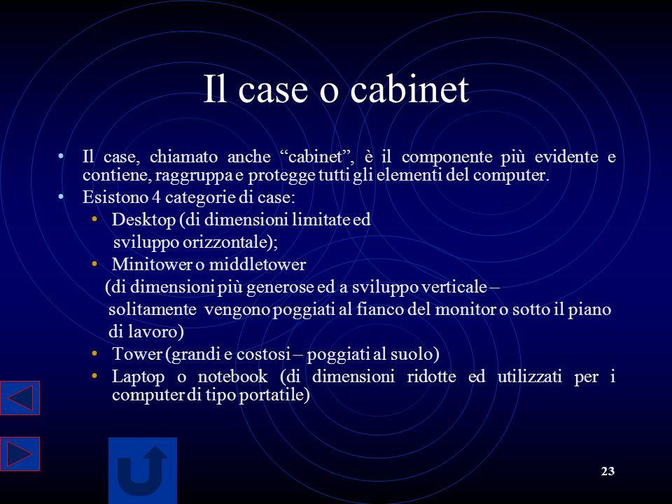 23 Il case o cabinet Il case, chiamato anche cabinet, è il componente più evidente e contiene, raggruppa e protegge tutti gli elementi del computer. E