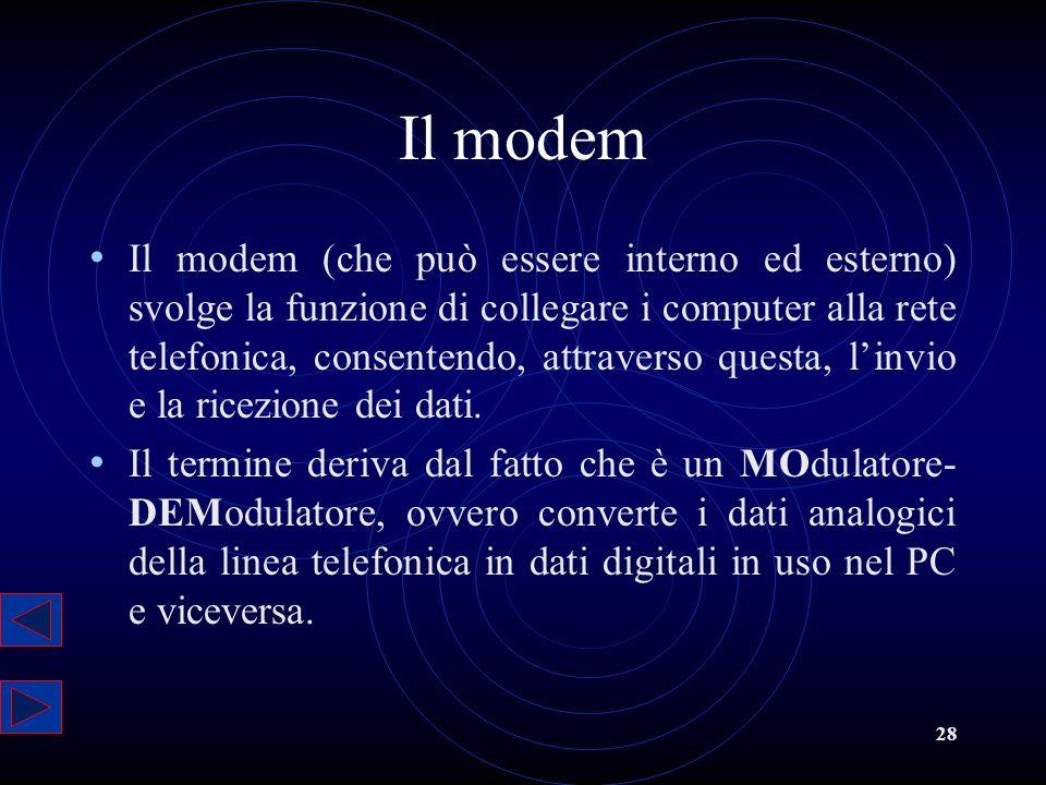28 Il modem Il modem (che può essere interno ed esterno) svolge la funzione di collegare i computer alla rete telefonica, consentendo, attraverso ques