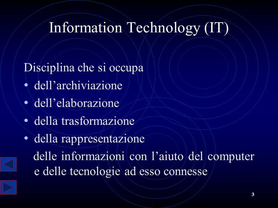 3 Disciplina che si occupa dellarchiviazione dellelaborazione della trasformazione della rappresentazione delle informazioni con laiuto del computer e