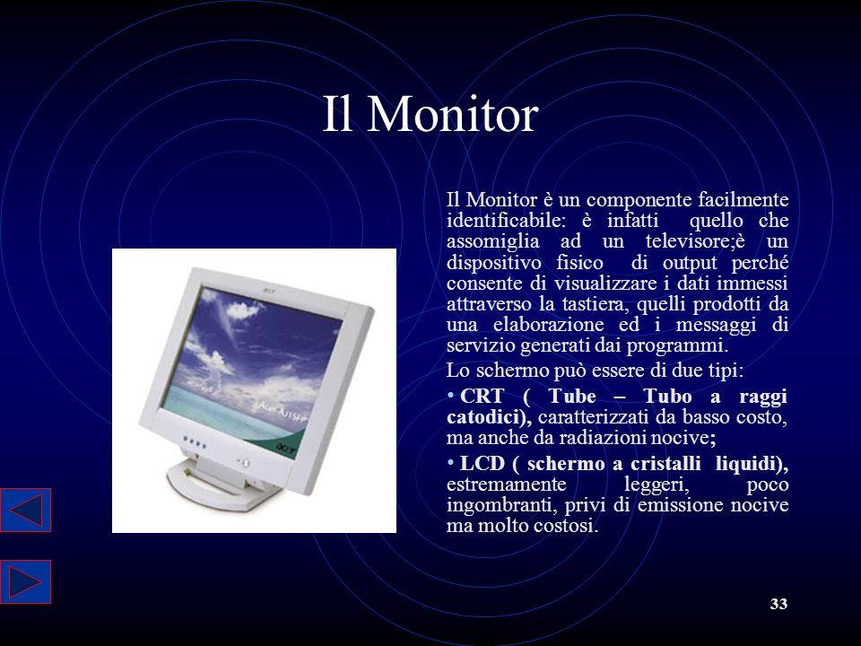 33 Il Monitor Il Monitor è un componente facilmente identificabile: è infatti quello che assomiglia ad un televisore;è un dispositivo fisico di output