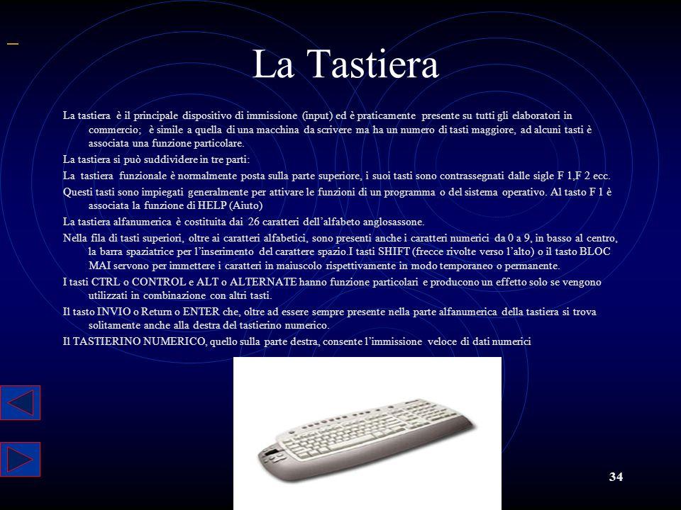 34 La Tastiera La tastiera è il principale dispositivo di immissione (input) ed è praticamente presente su tutti gli elaboratori in commercio; è simil