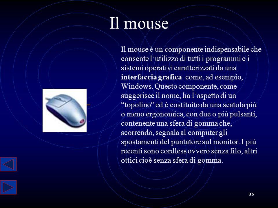 35 Il mouse Il mouse è un componente indispensabile che consente lutilizzo di tutti i programmi e i sistemi operativi caratterizzati da una interfacci