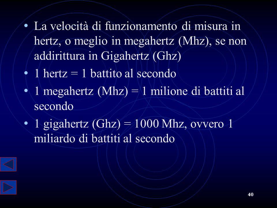 40 La velocità di funzionamento di misura in hertz, o meglio in megahertz (Mhz), se non addirittura in Gigahertz (Ghz) 1 hertz = 1 battito al secondo