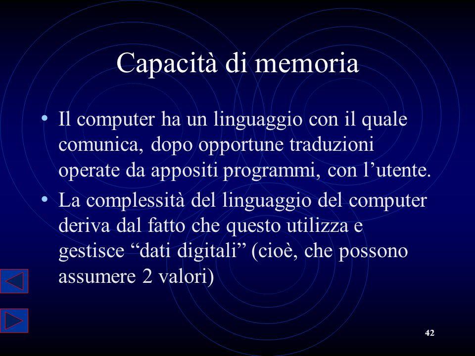 42 Capacità di memoria Il computer ha un linguaggio con il quale comunica, dopo opportune traduzioni operate da appositi programmi, con lutente. La co