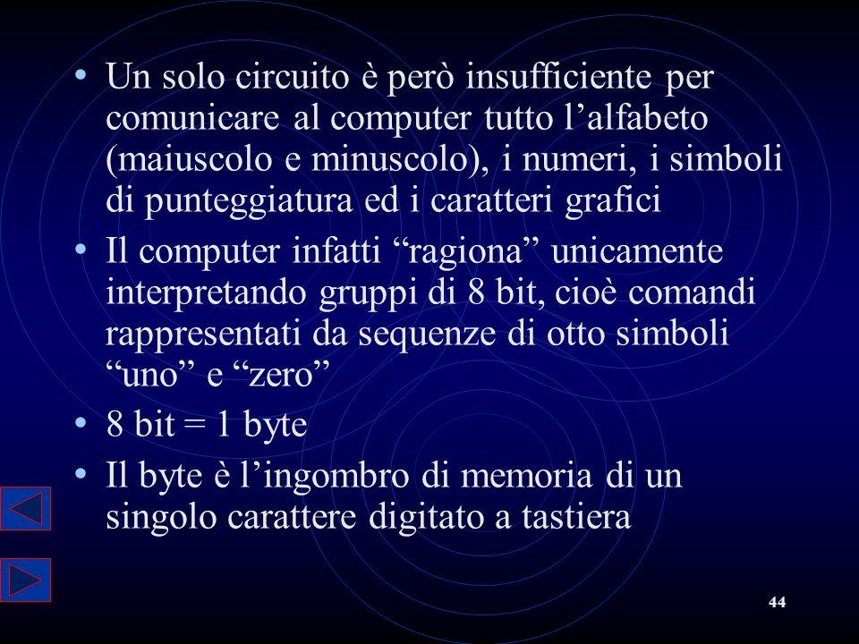 44 Un solo circuito è però insufficiente per comunicare al computer tutto lalfabeto (maiuscolo e minuscolo), i numeri, i simboli di punteggiatura ed i
