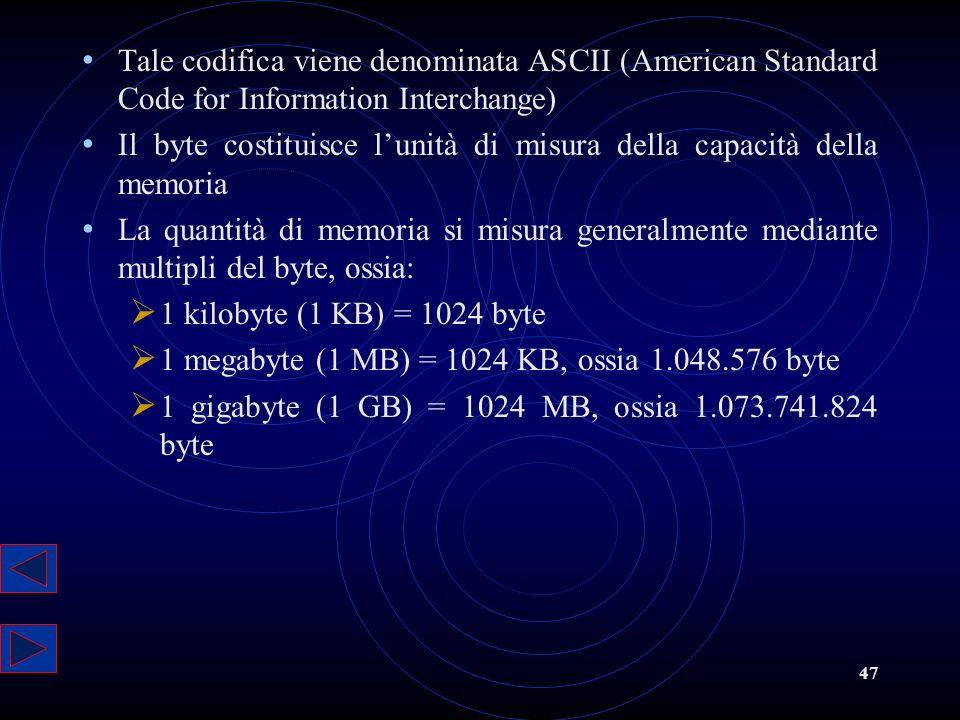 47 Tale codifica viene denominata ASCII (American Standard Code for Information Interchange) Il byte costituisce lunità di misura della capacità della