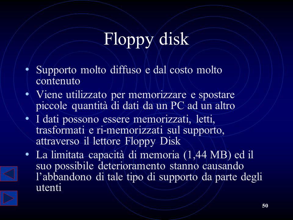 50 Floppy disk Supporto molto diffuso e dal costo molto contenuto Viene utilizzato per memorizzare e spostare piccole quantità di dati da un PC ad un