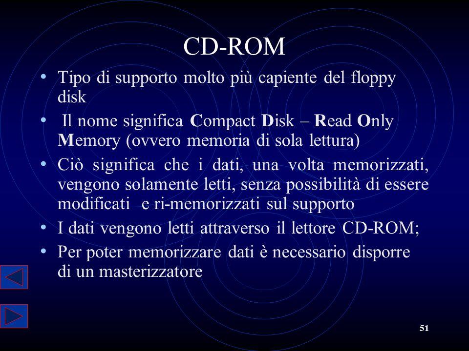 51 CD-ROM Tipo di supporto molto più capiente del floppy disk Il nome significa Compact Disk – Read Only Memory (ovvero memoria di sola lettura) Ciò s