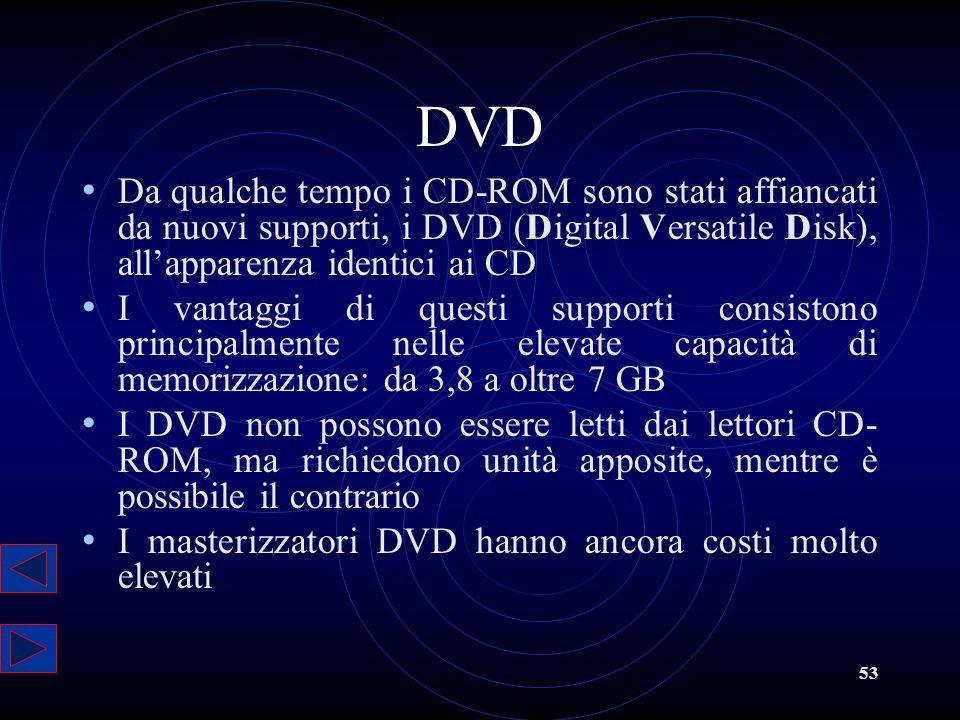 53 DVD Da qualche tempo i CD-ROM sono stati affiancati da nuovi supporti, i DVD (Digital Versatile Disk), allapparenza identici ai CD I vantaggi di qu