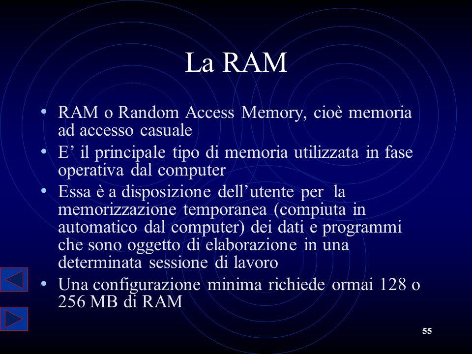 55 La RAM RAM o Random Access Memory, cioè memoria ad accesso casuale E il principale tipo di memoria utilizzata in fase operativa dal computer Essa è