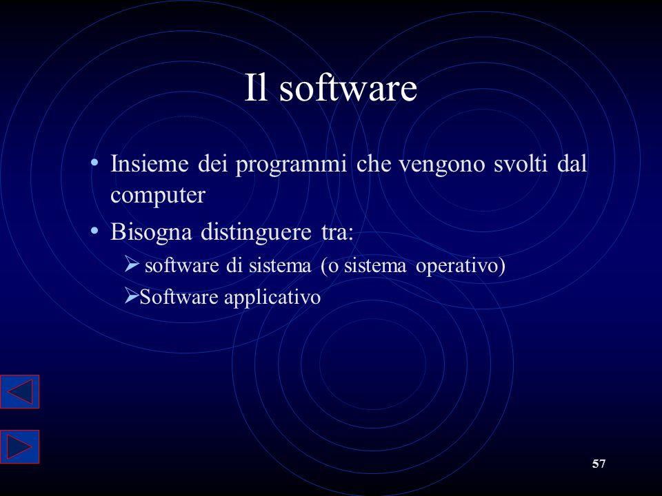57 Il software Insieme dei programmi che vengono svolti dal computer Bisogna distinguere tra: software di sistema (o sistema operativo) Software appli