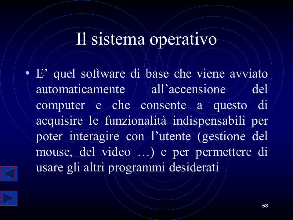 58 Il sistema operativo E quel software di base che viene avviato automaticamente allaccensione del computer e che consente a questo di acquisire le f