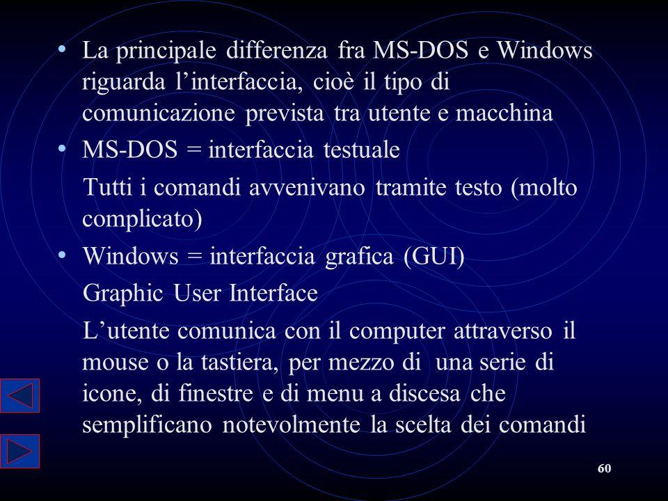 60 La principale differenza fra MS-DOS e Windows riguarda linterfaccia, cioè il tipo di comunicazione prevista tra utente e macchina MS-DOS = interfac