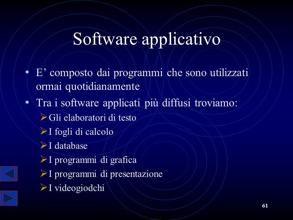 61 Software applicativo E composto dai programmi che sono utilizzati ormai quotidianamente Tra i software applicati più diffusi troviamo: Gli elaborat