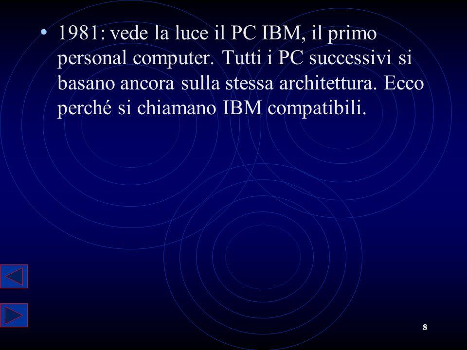 8 1981: vede la luce il PC IBM, il primo personal computer. Tutti i PC successivi si basano ancora sulla stessa architettura. Ecco perché si chiamano