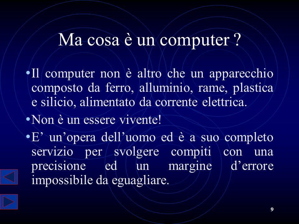 9 Ma cosa è un computer ? Il computer non è altro che un apparecchio composto da ferro, alluminio, rame, plastica e silicio, alimentato da corrente el