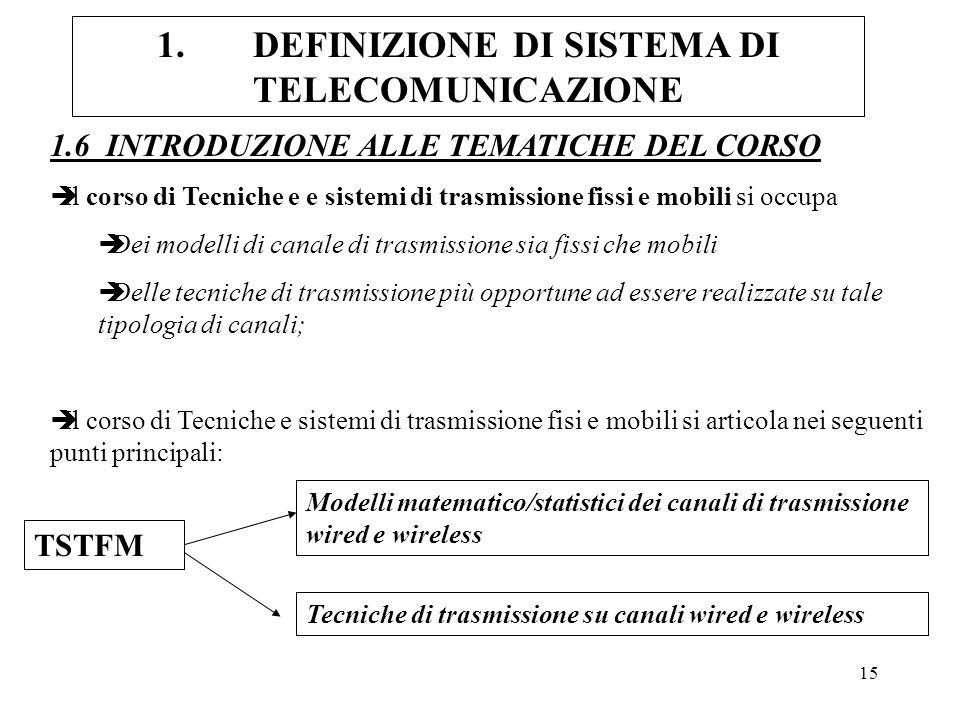 15 1.DEFINIZIONE DI SISTEMA DI TELECOMUNICAZIONE 1.6 INTRODUZIONE ALLE TEMATICHE DEL CORSO èIl corso di Tecniche e e sistemi di trasmissione fissi e m