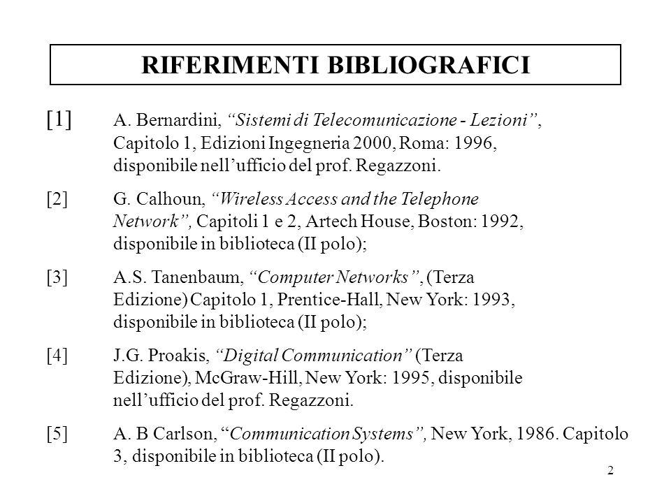 2 RIFERIMENTI BIBLIOGRAFICI [1] A. Bernardini, Sistemi di Telecomunicazione - Lezioni, Capitolo 1, Edizioni Ingegneria 2000, Roma: 1996, disponibile n