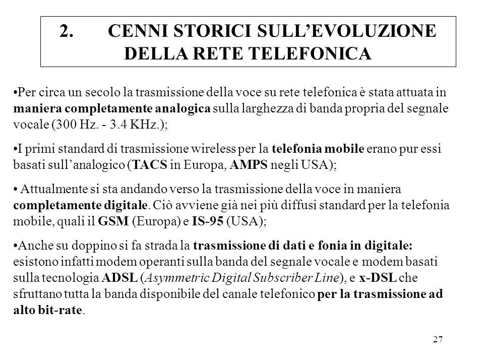 27 Per circa un secolo la trasmissione della voce su rete telefonica è stata attuata in maniera completamente analogica sulla larghezza di banda propr