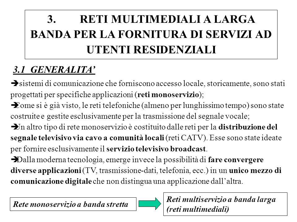 3. RETI MULTIMEDIALI A LARGA BANDA PER LA FORNITURA DI SERVIZI AD UTENTI RESIDENZIALI èI sistemi di comunicazione che forniscono accesso locale, stori