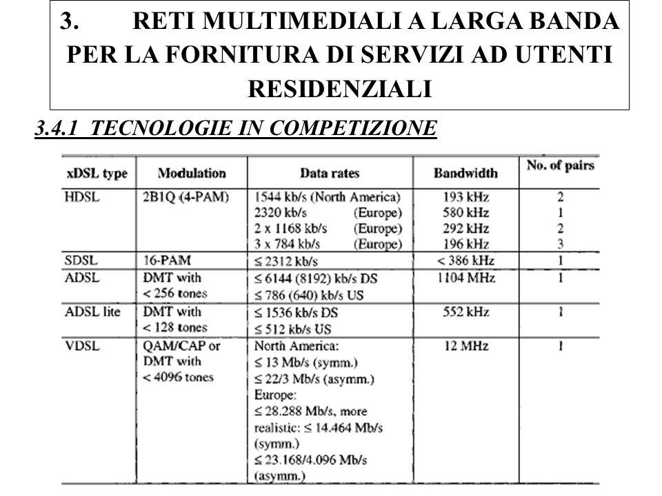 36 3. RETI MULTIMEDIALI A LARGA BANDA PER LA FORNITURA DI SERVIZI AD UTENTI RESIDENZIALI 3.4.1 TECNOLOGIE IN COMPETIZIONE