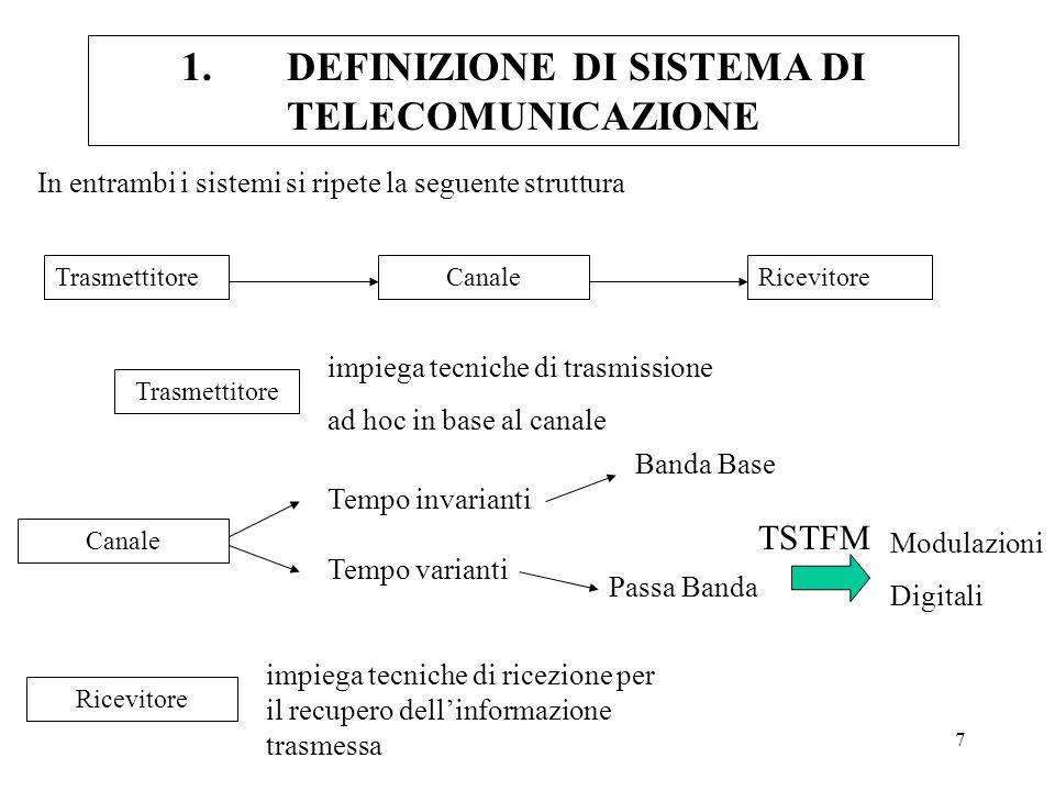 7 1.DEFINIZIONE DI SISTEMA DI TELECOMUNICAZIONE In entrambi i sistemi si ripete la seguente struttura TrasmettitoreCanaleRicevitore impiega tecniche d