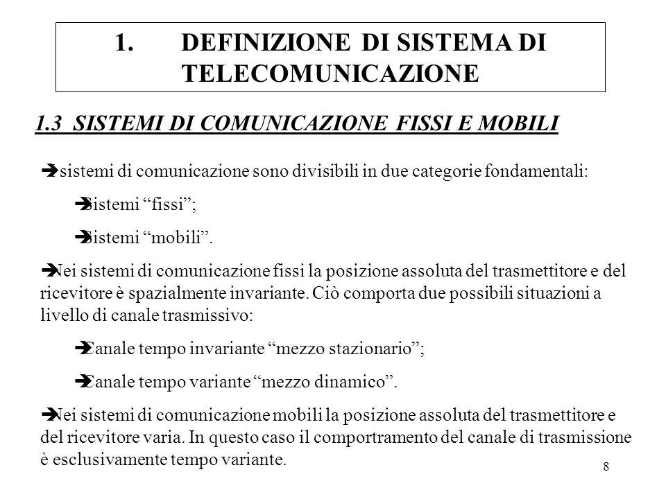 9 1.DEFINIZIONE DI SISTEMA DI TELECOMUNICAZIONE 1.3.1 ESEMPIO DI SISTEMA DI COMUNICAZIONE PUNTO- MULTI-UTENTE A DUE VIE Trasmettitore 1 Canale Ricevitore 1 UTENTE 1 Ricevitore 2 Trasmettitore 2 UTENTE 2 E la configurazione più generale di un sistema di comunicazione; Al concetto di trasmettitore e ricevitore è sostituito il concetto di utente, il quale è in grado sia di trasmettere, che di ricevere dati (es.