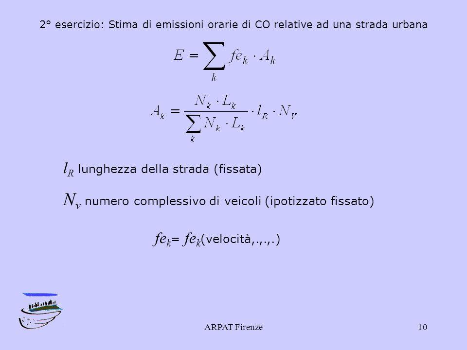 ARPAT Firenze10 2° esercizio: Stima di emissioni orarie di CO relative ad una strada urbana l R lunghezza della strada (fissata) N v numero complessivo di veicoli (ipotizzato fissato) fe k = fe k (velocità,.,.,.)