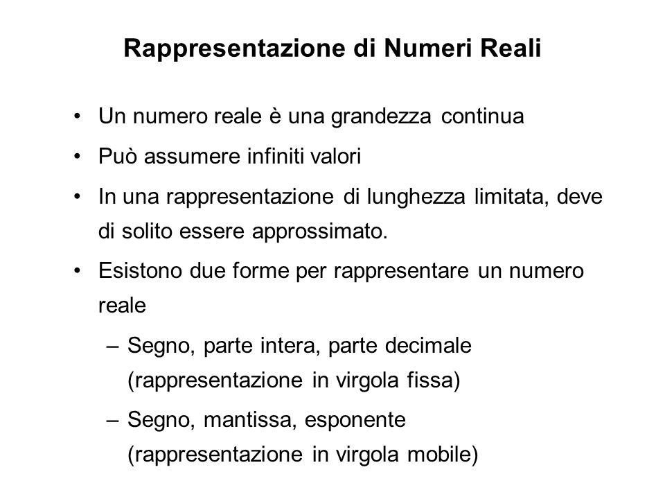 Rappresentazione di Numeri Reali Un numero reale è una grandezza continua Può assumere infiniti valori In una rappresentazione di lunghezza limitata,