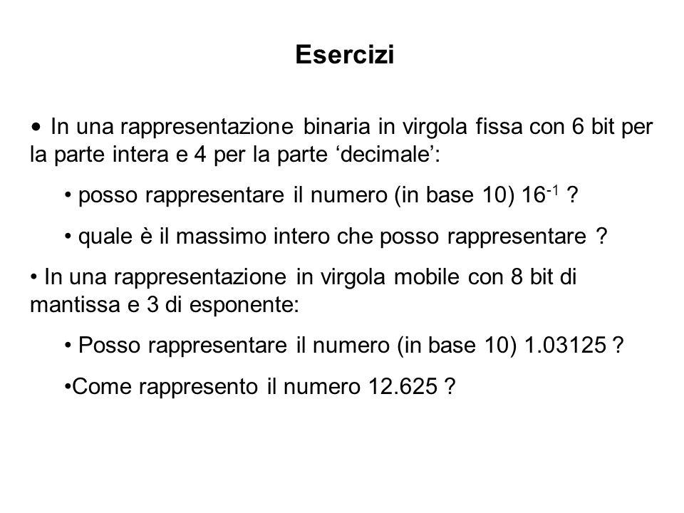 Esercizi In una rappresentazione binaria in virgola fissa con 6 bit per la parte intera e 4 per la parte decimale: posso rappresentare il numero (in b