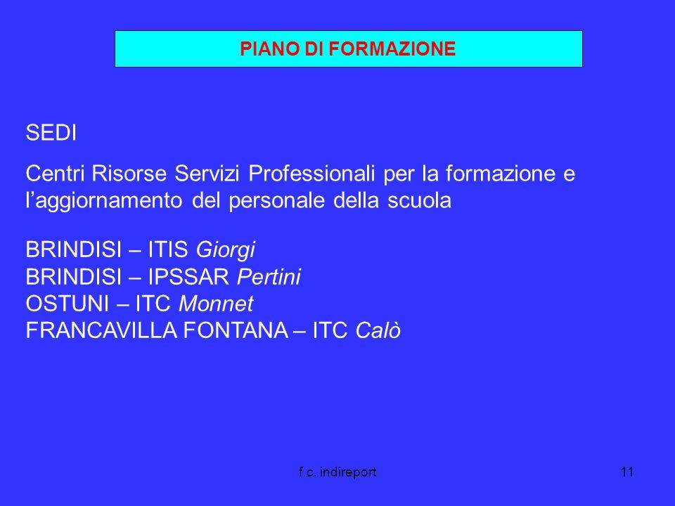 f.c. indireport11 PIANO DI FORMAZIONE SEDI Centri Risorse Servizi Professionali per la formazione e laggiornamento del personale della scuola BRINDISI