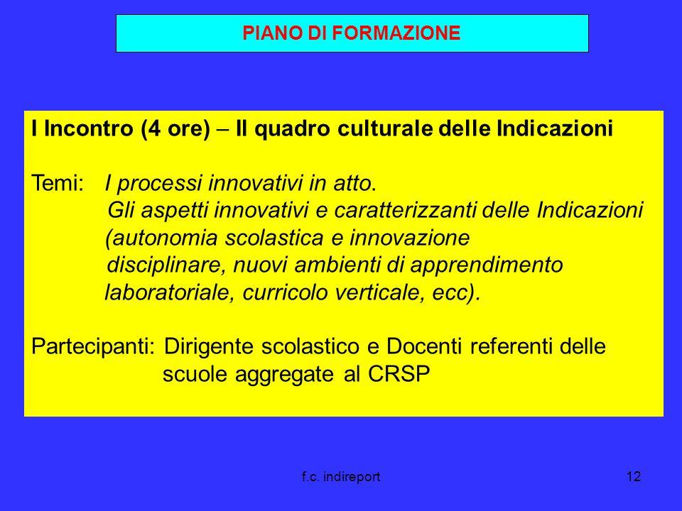 f.c. indireport12 PIANO DI FORMAZIONE I Incontro (4 ore) – Il quadro culturale delle Indicazioni Temi: I processi innovativi in atto. Gli aspetti inno