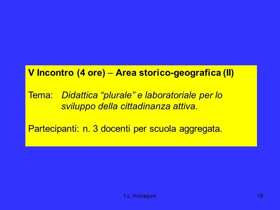 f.c. indireport16 V Incontro (4 ore) – Area storico-geografica (II) Tema: Didattica plurale e laboratoriale per lo sviluppo della cittadinanza attiva.