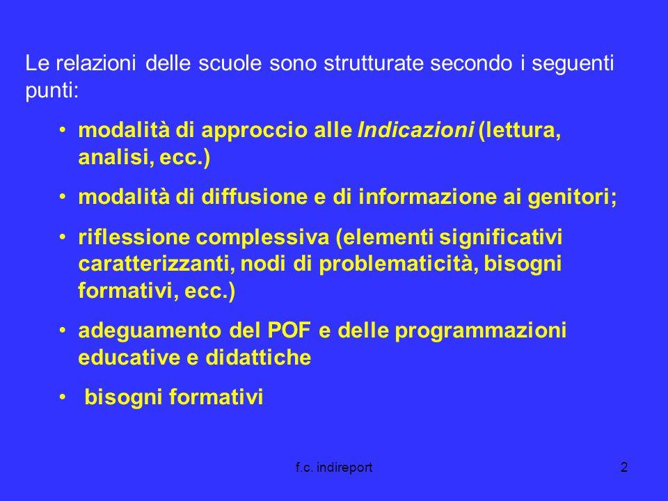 f.c. indireport2 Le relazioni delle scuole sono strutturate secondo i seguenti punti: modalità di approccio alle Indicazioni (lettura, analisi, ecc.)